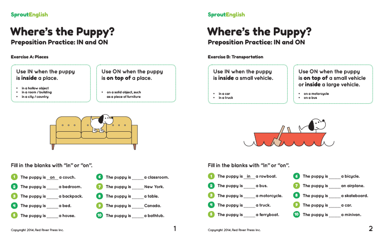 Wheres the Puppy Preposition Practice for IN and ON – Preposition Worksheets Pdf