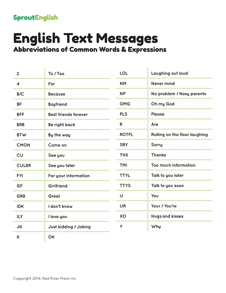 Text Message Abbreviations List Sprout English
