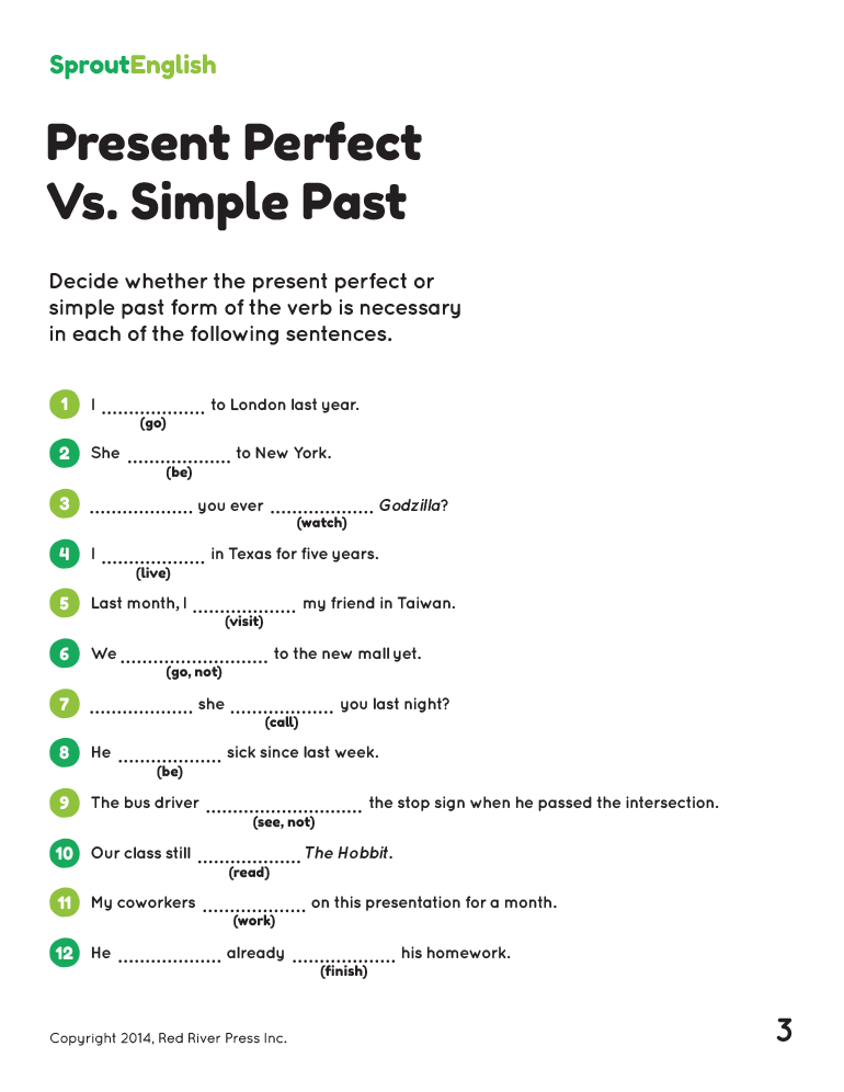 Teaching the Present Perfect – Present Perfect Worksheet