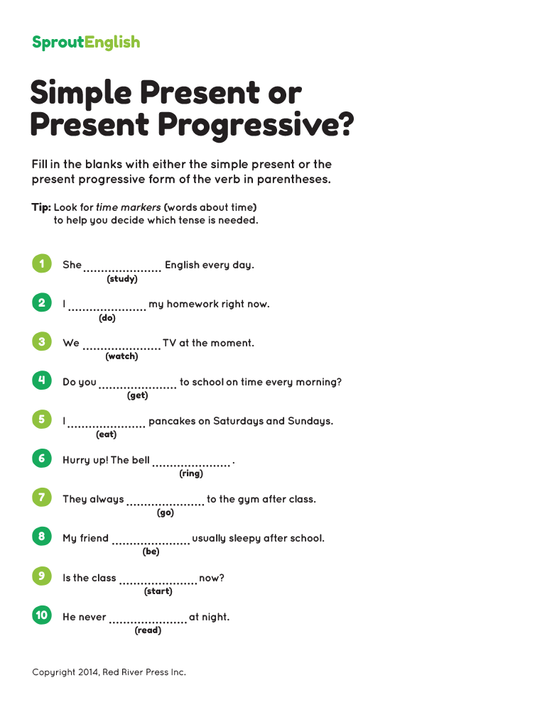 Printables Present Progressive Worksheets simple present vs progressive grammar worksheet answers