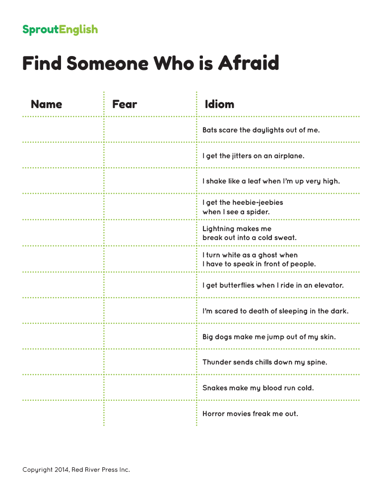 Expressing Fear And Phobias English Idioms Sprout English