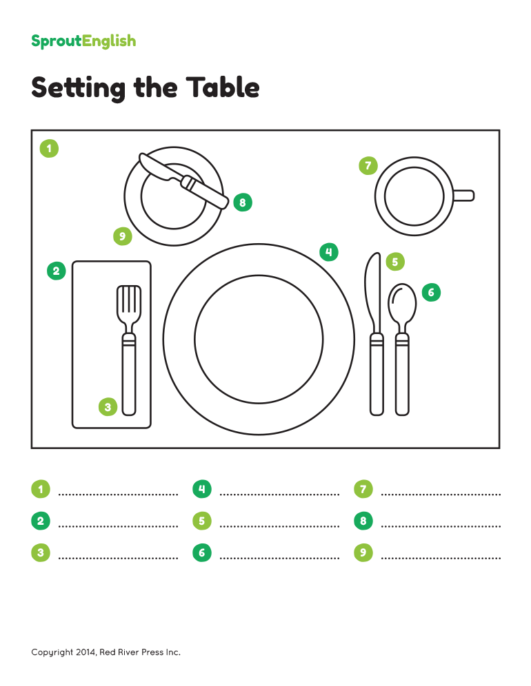 Listen and Practice  sc 1 st  Sprout English : table setting placemat template - pezcame.com
