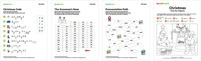 Christmas Word Puzzles: Pronunciation, Spelling & Vocabulary ...