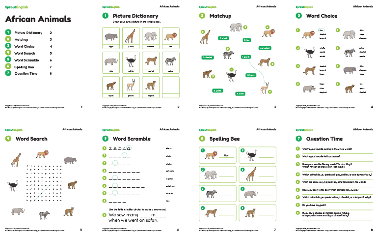 word bank animals images