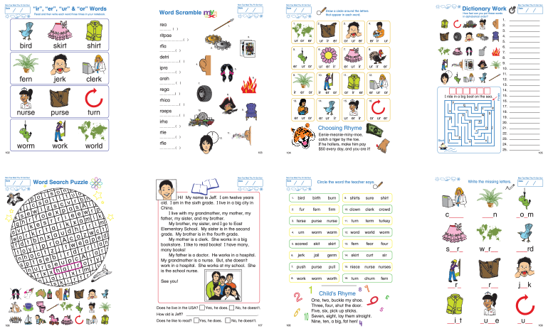Worksheets Ir Words Phonics phonics lesson ir er ur or sprout english find this in the phonics