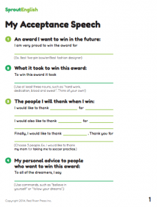 presenting an award speech template - writing activity my acceptance speech sprout english